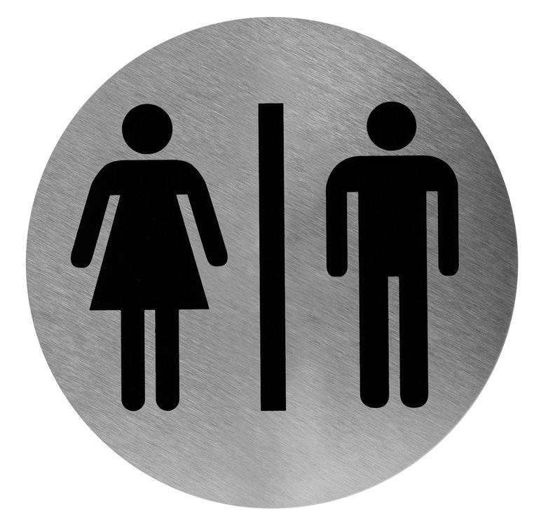 Pictogram rond man/vrouw RVS